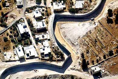 AN AERIAL VIEW OF ISRAEL'S  SECURITY BARRIER IN EAST JERUSALEM